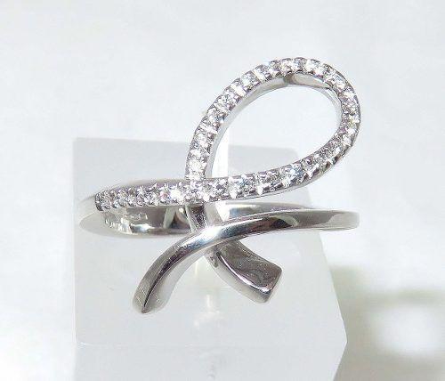 Anel De Ouro Branco 18k750 Diamantes 1196