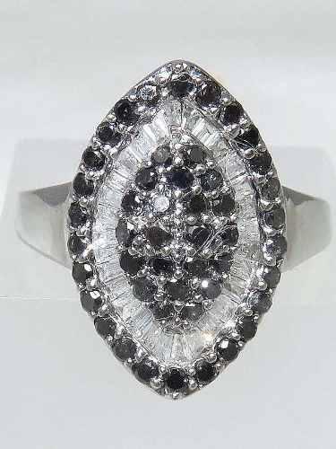 Anel De Ouro Branco 18k750 Diamantes 1187