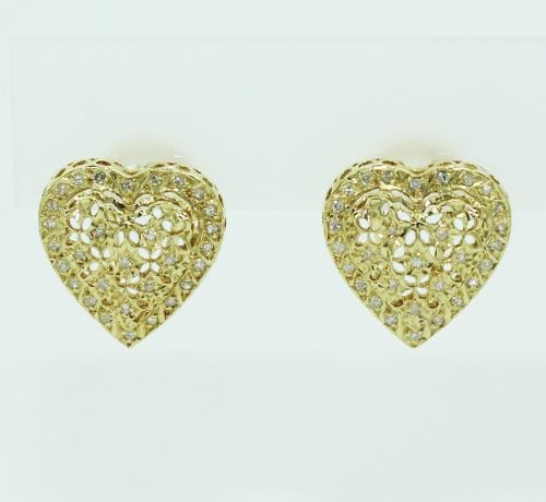 Brincos De Ouro 18k750 Diamantes Coração B855