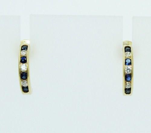 Brincos De Ouro 18k750 Diamantes Safiras B852