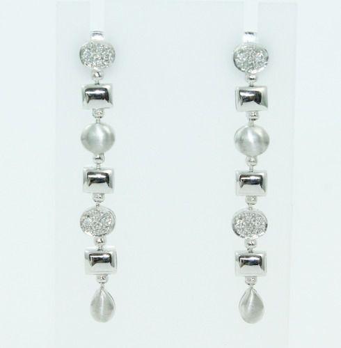 Brincos Ouro Branco 18k750 Diamantes Vivara B851