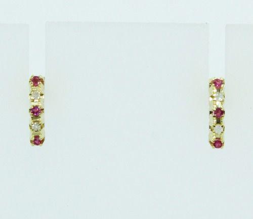 Brincos De Ouro 18k750 Diamantes Rubis B846