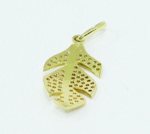 Pingente De Ouro 18k750 Diamantes Pena P677