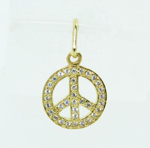 Pingente De Ouro 18k750 Diamantes Paz P678