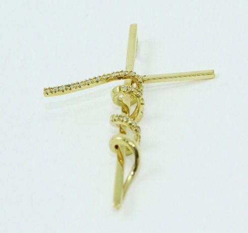 Pingente De Ouro 18k750 Diamantes Cruz P682