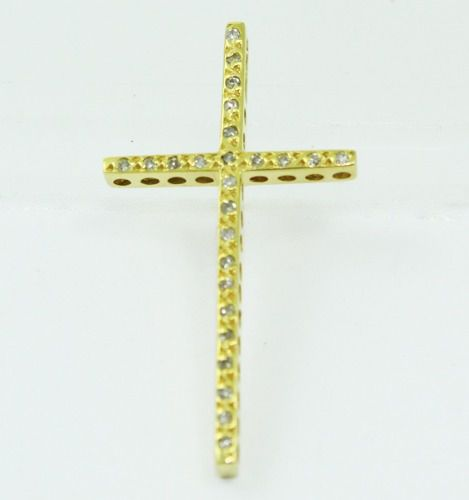 Pingente De Ouro 18k750 Diamantes Cruz P683