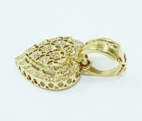 Pingente De Ouro 18k750 Coração Diamantes P684