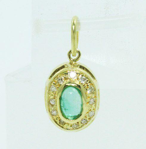 Pingente De Ouro 18k750 Diamantes Esmeralda P687