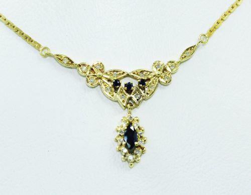 Colar De Ouro 18k750 Diamantes Safiras Azuis C323