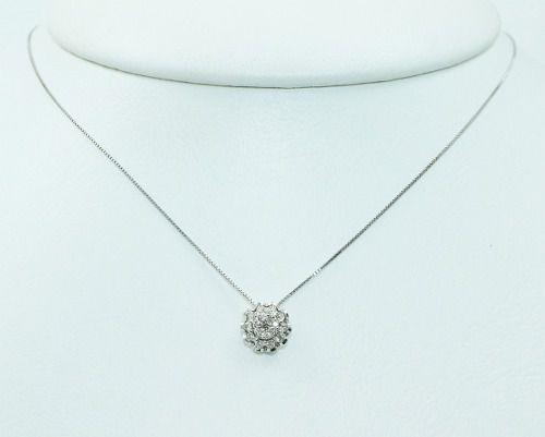 Colar De Ouro Branco 18k75 Diamantes C319