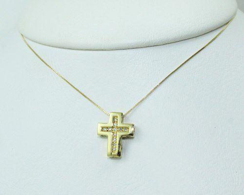 Colar De Ouro 18k75 Cruz Diamantes C317