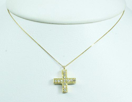 Colar De Ouro 18k75 Diamantes Cruz C306