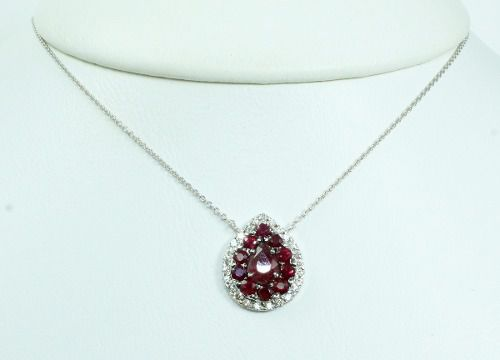 Colar De Ouro 18k75 Diamantes Rubis C305