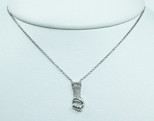 Colar De Ouro Branco 18k75 Diamantes C303