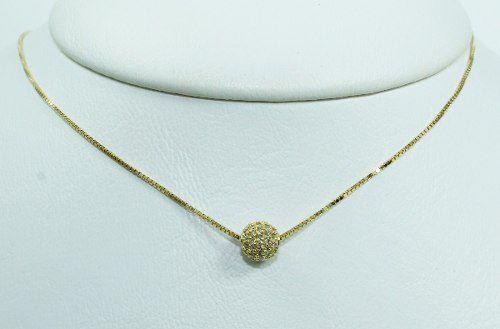 Colar De Ouro 18k75 Diamantes C299