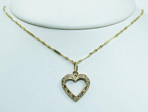 Colar De Ouro 18k75 Coração Diamantes C298