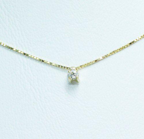 Colar De Ouro 18k750 Ponto De Luz Diamante C173