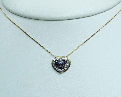 Colar De Ouro 18k750 Coração Zirconia Safira C217