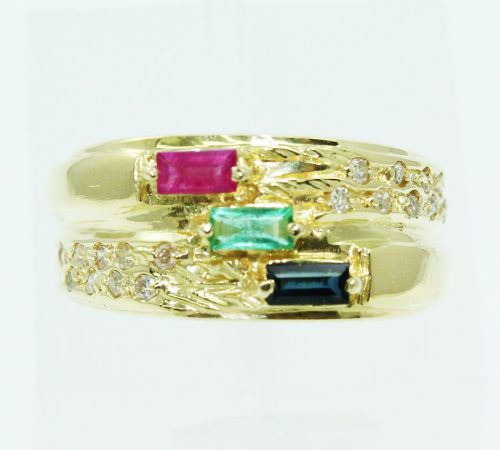 Anel De Ouro 18k750 Diamantes Pedras 2435