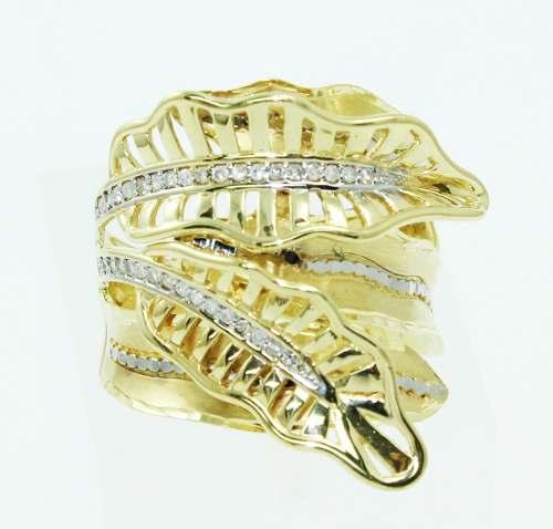 Anel De Ouro 18k750 Diamantes Folhas 2436