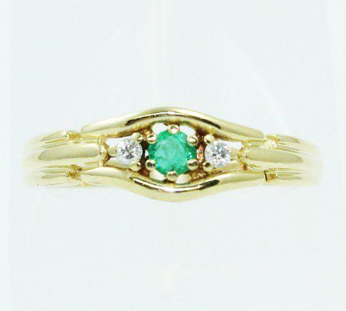 Anel De Ouro 18k750 Diamantes Esmeralda 2442