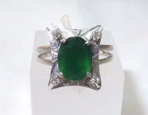 Anel Ouro Branco 18k750 Diamantes Crisopázio 1171