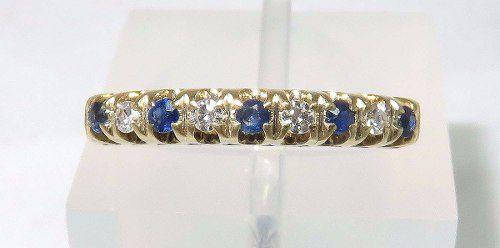Anel De Ouro 18k750 Diamantes Safiras 1136