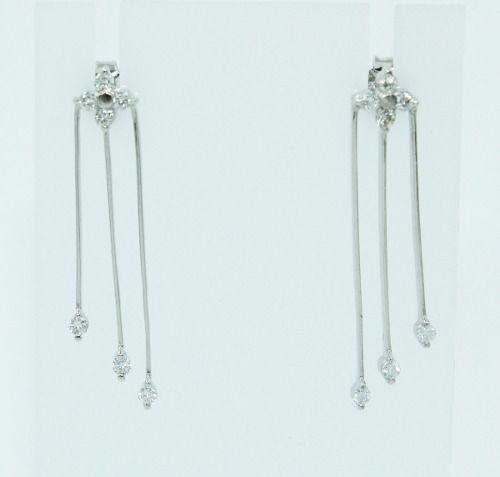 Brincos De Ouro Branco 18k750 Diamantes B857