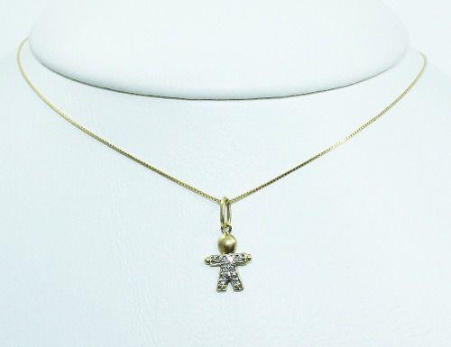 Colar De Ouro 18k75 Menino Diamantes C297