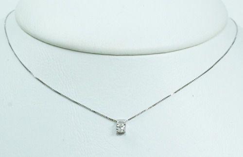 Colar De Ouro Branco 18k75 Diamante C295