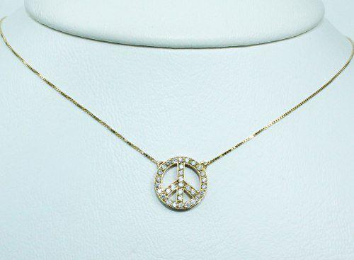 Colar De Ouro 18k750 Diamantes Paz C284