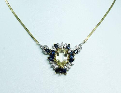 Colar De Ouro 18k75 Diamantes Safiras C263