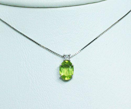 Colar De Ouro 18k750 Diamante Peridoto C262