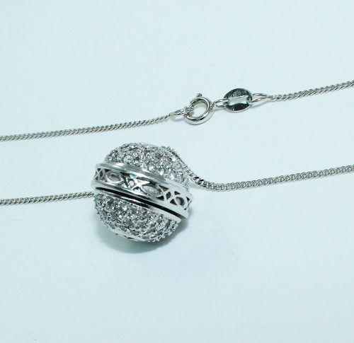 Colar De Ouro Branco 18k750 Bola Diamantes C259