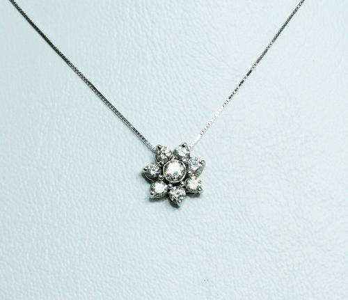 Colar De Ouro Branco 18k750 Flor Diamantes C258