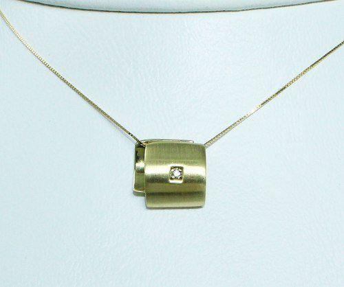 Colar De Ouro 18k750 Diamante C254