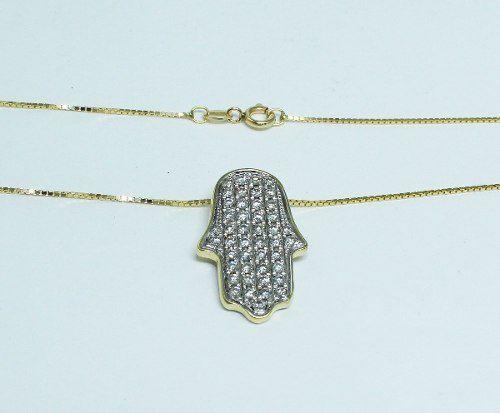 Colar De Ouro 18k750 Mão De Fátima Diamantes C209