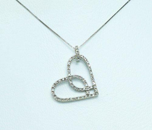 Colar Ouro Branco 18k750 Coração Diamantes C251
