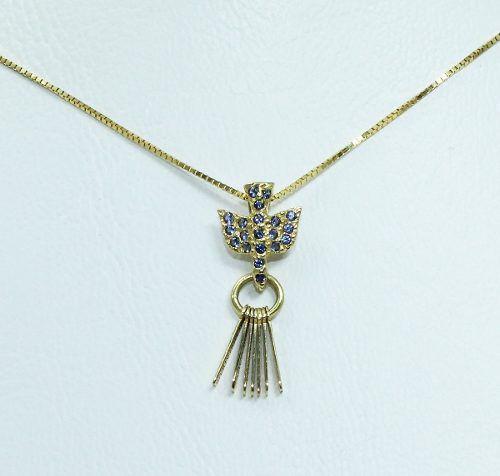 Colar De Ouro 18k750 Pássaro Safira Azul C230