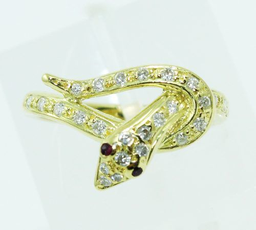 Anel De Ouro 18k750 Cobras Diamantes 2363