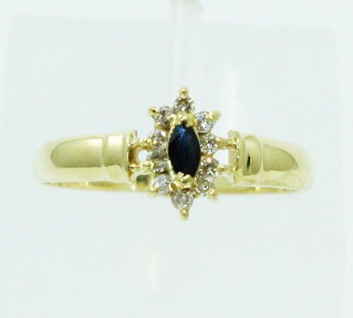 Anel De Ouro 18k750 Diamantes Safira Azul 2359