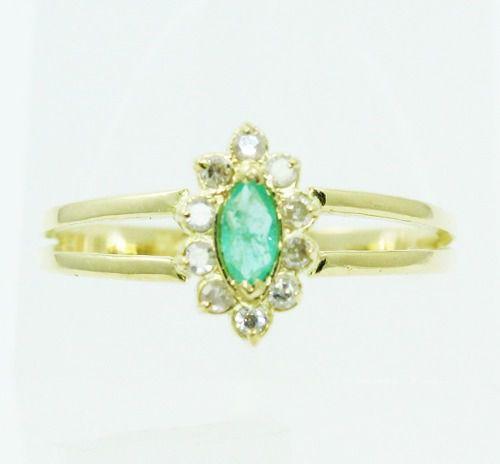Anel De Ouro 18k750 Esmeralda Diamantes 2362