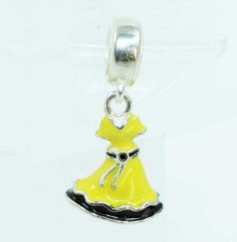 Charm Berloque Vestido Princesa Bela Prata 925 C1