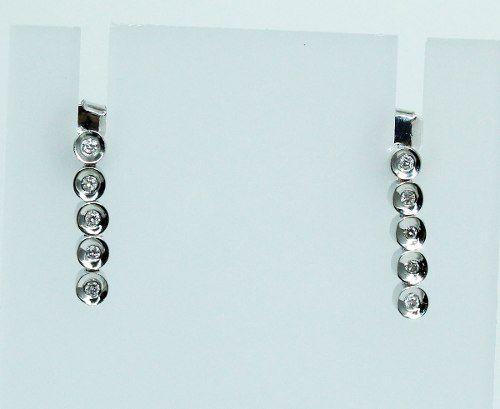 Brincos De Ouro Branco 18k750 Diamantes B703