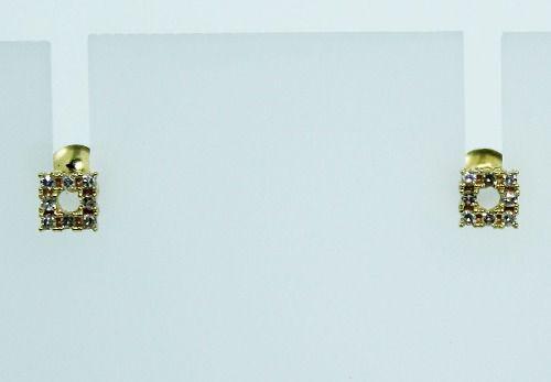 Brincos De Ouro 18k750 Diamantes Quadrado B692