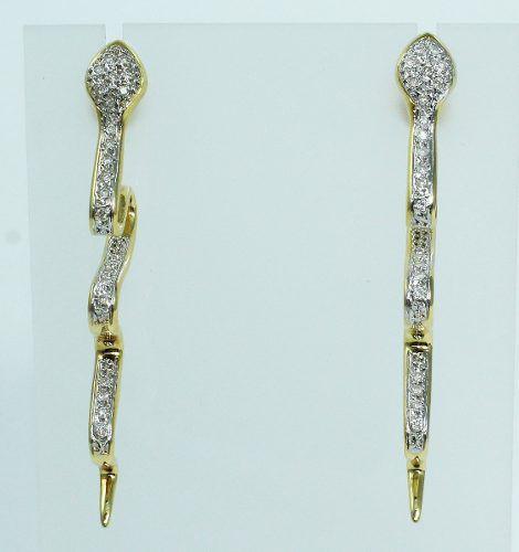 Brincos De Ouro 18k750 Diamantes Cobra B683
