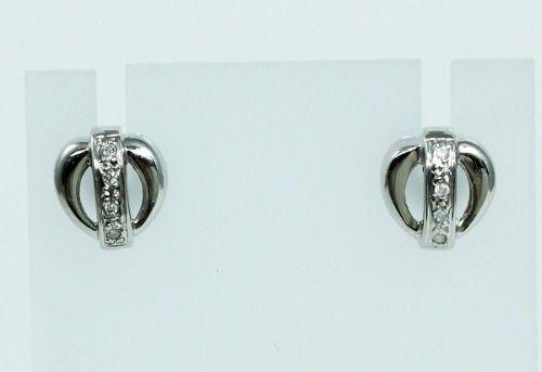 Brincos De Ouro Branco 18k750 Diamantes B684