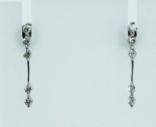 Brincos De Ouro Branco 18k750 Diamantes B659