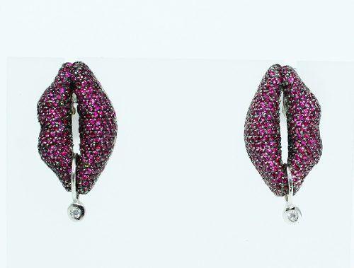 Brincos De Ouro Branco 18k750 Diamantes Rubi B647