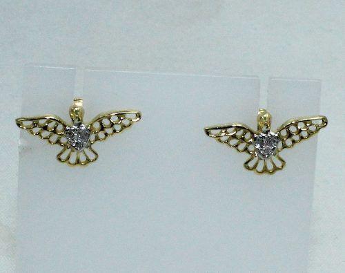 Brincos De Ouro 18k750 Pássaro Diamantes B518